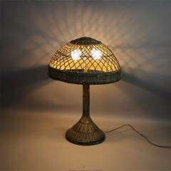 Large wicker table lamp c1920's