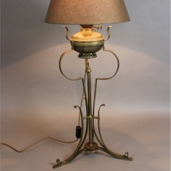 Large Victorian converted brass oil lamp
