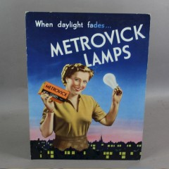 Card advert for Metrovick lamps