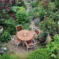Midcentury Danish Teak Garden Table & 4 Stacking Chairs