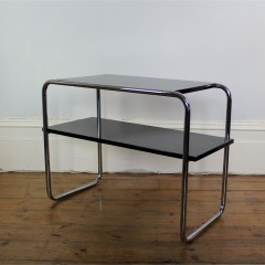 Modernist chrome and black lacquered two tier table