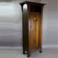 Arts and Crafts oak hall cupboard