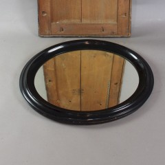 Victorian oval black framed wall mirror