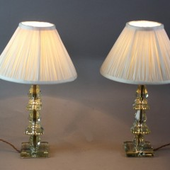 Pair of crystal cut glass table lamps c1930's/50's