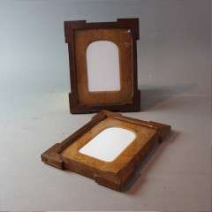 Pair of oak arts and crafts photo frames