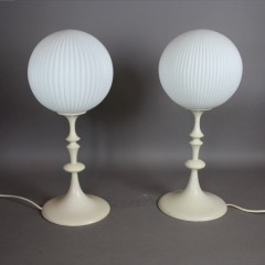 Fabulous pair of 1960's white painted turned wooden table lamps