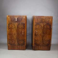 Pair of art deco burr walnut bedside cabinet. c1930's