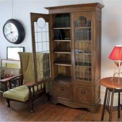 Arts and Crafts glazed bookcase with pewter ebony inlay