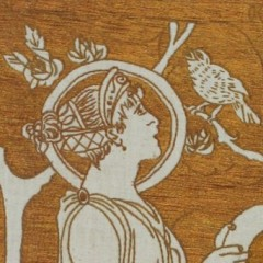 Three art nouveau embroidered panels in oak frames after Selwyn Image