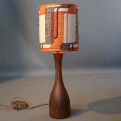 Seventies teak table lamp with period shade