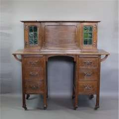 Arts & Crafts oak desk Stones Patent