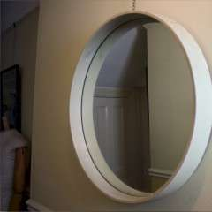 Fabulous 1970's French circular white mirror.