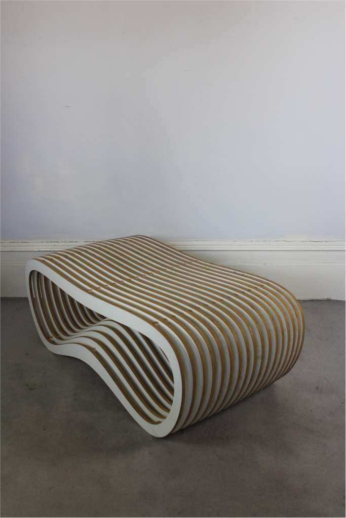 Interesting laminate plywood table / bench
